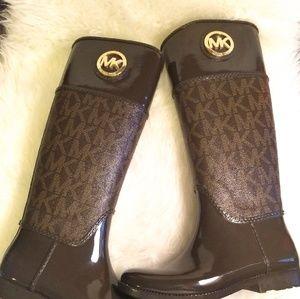 MICHAEL Michael Kors Shoes - Michael Kors Brown Stockard Logo Tall Rain Boots